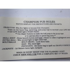 Champion Pub card instruction