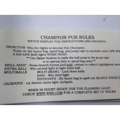 Champion Pub card instruction