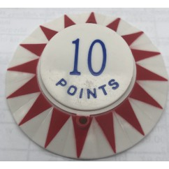 Red star point perimeter with blue 10 Points pop bumper cap