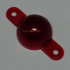 Plastic Starburst Mini Dome with Screw Tabs - Red