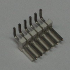 Connector 6h r/a sq pin .156 header