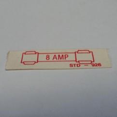 label 8 amp fuse paper