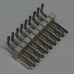 Connector 11h r/a sq pin .156 header