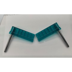 "Flipperbat  3"" flat  transparent teal (pair)"