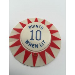Red star point perimeter with blue 10 Points When Lit imprint pop bumper cap.